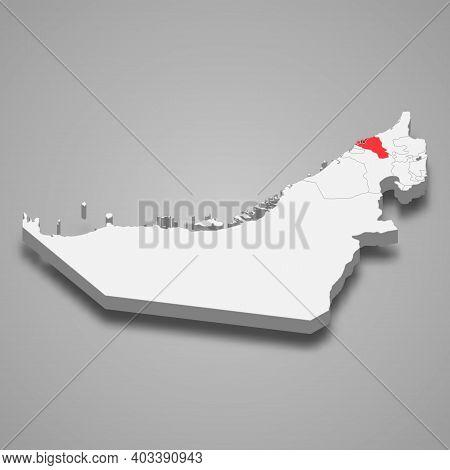 Umm Al Quwain Emirate Location Within United Arab Emirates 3d Isometric Map