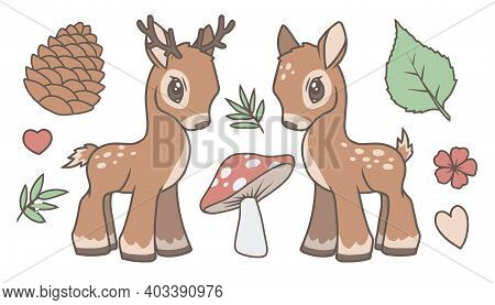 Cute Cartoon Vector Collection Set With Deer, Stag And Forest Related Graphics Like Leaf, Mushroom,