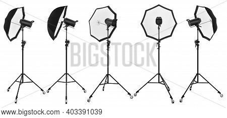 Photography Studio Lighting Stand With Flash And Umbrella Isolated On White Background. 3d Rendering