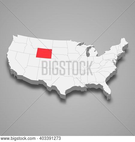 Wyoming State Location Within United States 3d Isometric Map