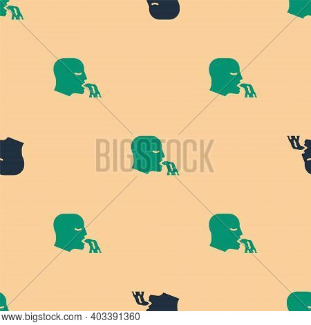 Green And Black Vomiting Man Icon Isolated Seamless Pattern On Beige Background. Symptom Of Disease,