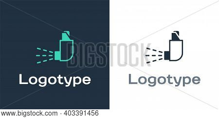 Logotype Inhaler Icon Isolated On White Background. Breather For Cough Relief, Inhalation, Allergic