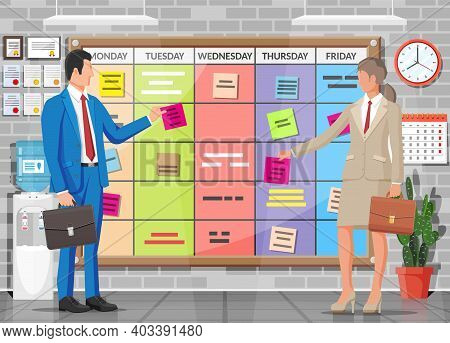 Scrum Agile Board, Business People. Bulletin Board Hanging On Wall Full Of Tasks On Sticky Note Card