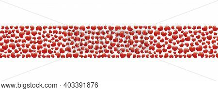 Hearts With Shadow. Seamless Horizontal Border. Repeating Vector Pattern. Isolated Colorless Backgro