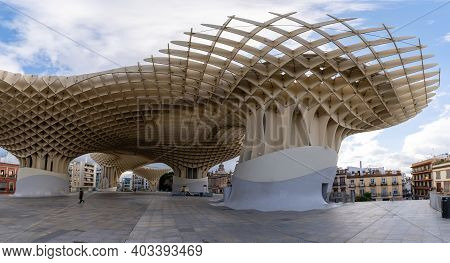 Seville, Spain - 10 January, 2021: View Of The Metropol Parasol In Sevilla