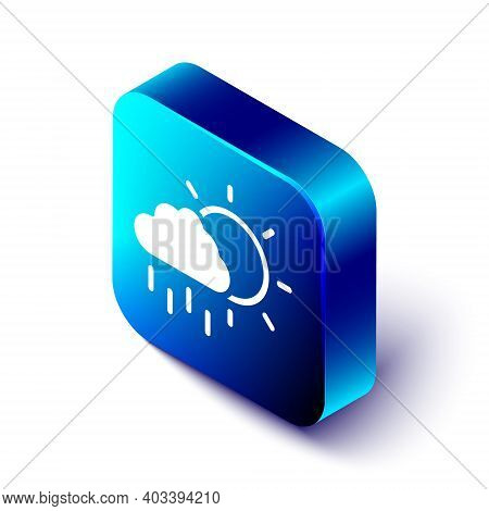 Isometric Cloud With Rain And Sun Icon Isolated On White Background. Rain Cloud Precipitation With R
