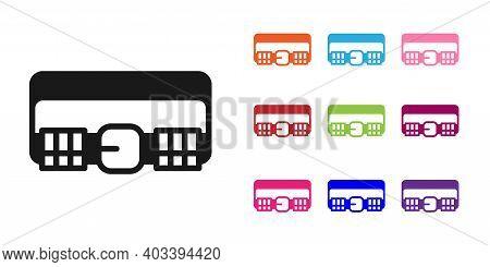 Black Hunting Cartridge Belt With Cartridges Icon Isolated On White Background. Bandolier Sign. Hunt