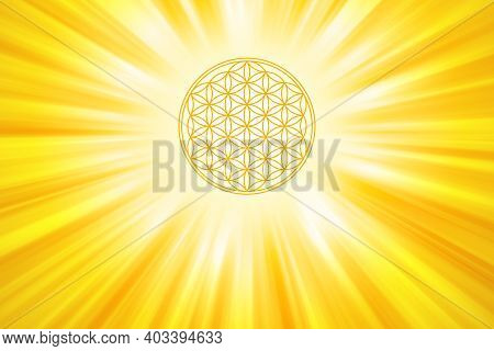 Golden Flower Of Life With Sun Rays Background. Geometric Figure Composed Of Multiple Overlapping Ci