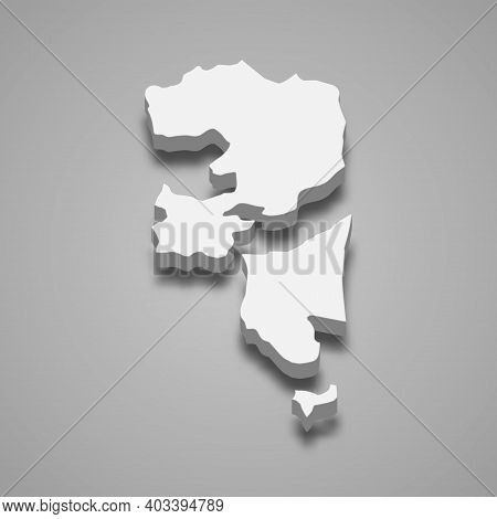 3d Isometric Map Of Fujairah Is A Emirate Of United Arab Emirates, Vector Illustration