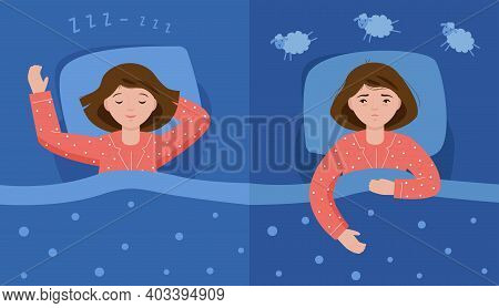 Two Scenes With Normal Sleep And Insomnia. A Girl In Pink Pajamas Lies In Bed And Cannot Sleep. Inso