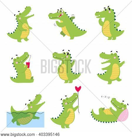 Cute Funny Crocodiles In Different Situations Set, Funny Alligator Green Predator Animal Character C