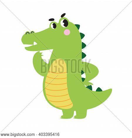 Cute Pensive Crocodile, Funny Alligator Predator Green Animal Character Cartoon Style Vector Illustr