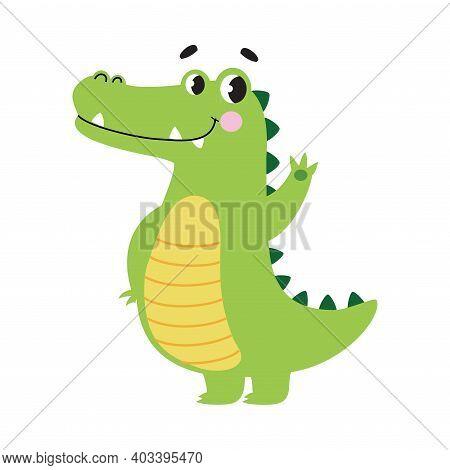 Cute Crocodile Waving Its Paw, Funny Alligator Predator Green Animal Character Cartoon Style Vector
