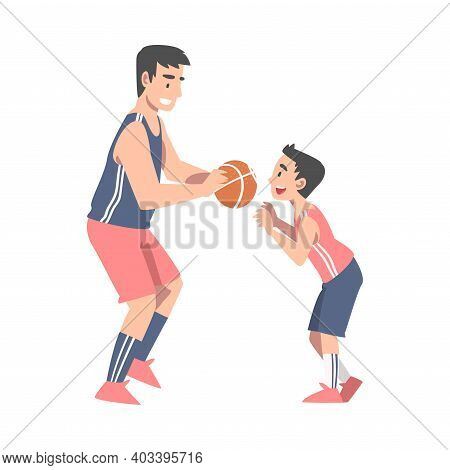 Dad And Son Playing Basketball, Happy Father And His Child Having Good Time Together Cartoon Style V