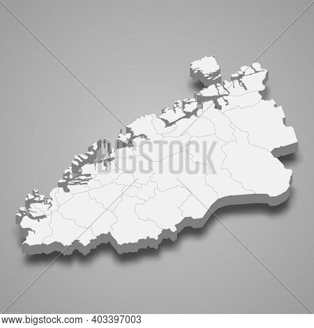 3d Isometric Map Of More Og Romsdal Is A County Of Norway, Vector Illustration