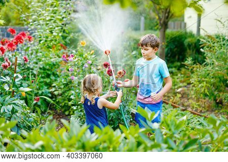 Beautiful Little Toddler Girl And School Kid Boy Watering Garden Flowers With Water Hose On Summer D