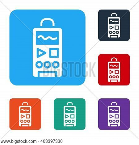 White Dictaphone Icon Isolated On White Background. Voice Recorder. Set Icons In Color Square Button