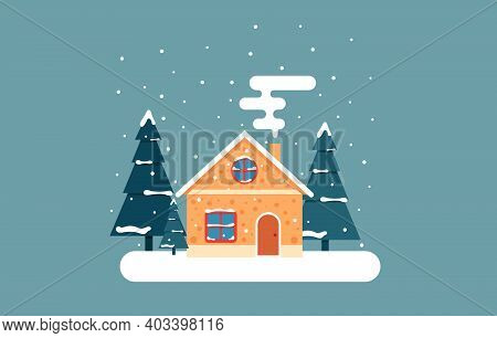 Gingerbread House With Trees And Snow. Illustration In Flat Style
