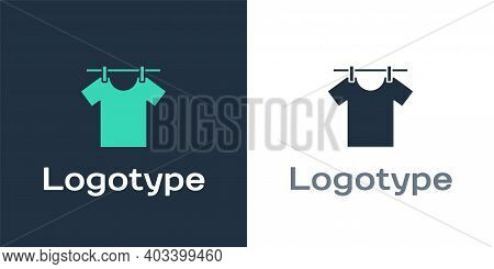 Logotype Drying Clothes Icon Isolated On White Background. Clean Shirt. Wash Clothes On A Rope With