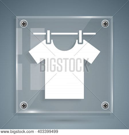White Drying Clothes Icon Isolated On Grey Background. Clean Shirt. Wash Clothes On A Rope With Clot