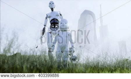 Mother Robot With Her Baby Robot In The Meadow On The Background Of A Futuristic City. Family Of The