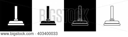 Set Rubber Plunger With Wooden Handle For Pipe Cleaning Icon Isolated On Black And White Background.