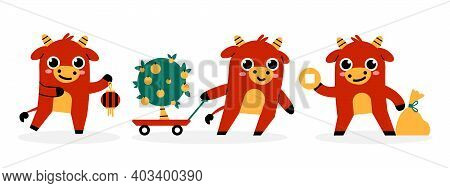 Set Of Chinese New Year 2021 Traditional Symbols. Bull, Ox, Chinese Decoration, Gold, Tangerine Tree