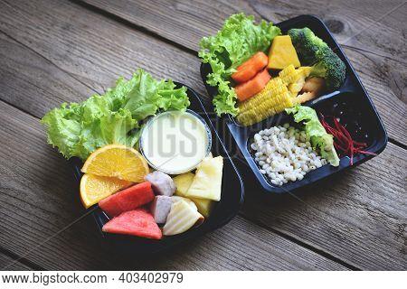 Plastic Box Food With Healthy Food Box Fruit Vegetable Salad Sauce Service Food Order Online Deliver