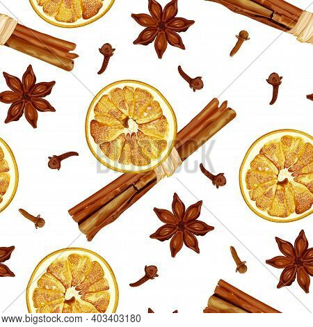 Seamless Pattern With Cinnamon Sticks, Dried Orange Slices, Aniseed Stars And Cloves. Christmas And