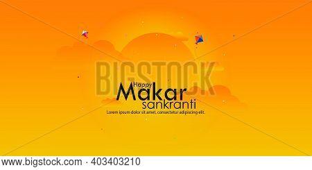 Happy Makar Sankranti Festival Background Decorated With Kites,