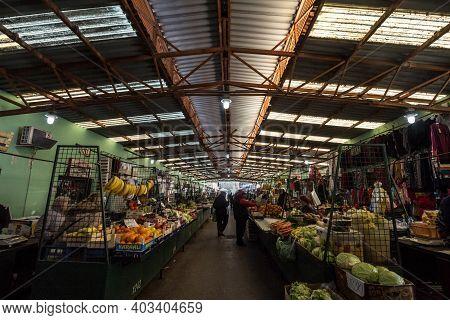 Subotica, Serbia - November 21, 2020: Fruits And Vegetables Hall On  Subotica Buvljak Green Market,