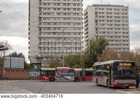 Belgrade, Serbia - September 27, 2020: Bus From Public Transportation Gsp Waiting At A Terminal Bus