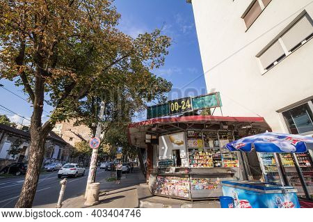 Belgrade, Serbia - August 14, 2018: Convenience Store, A Kiosk, Open Non Stop 24/7 Selling Essential