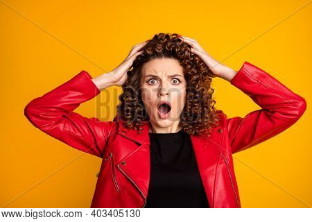 Close-up Portrait Of Her She Nice Attractive Worried Wavy-haired Girl Bad News Reaction Isolated On