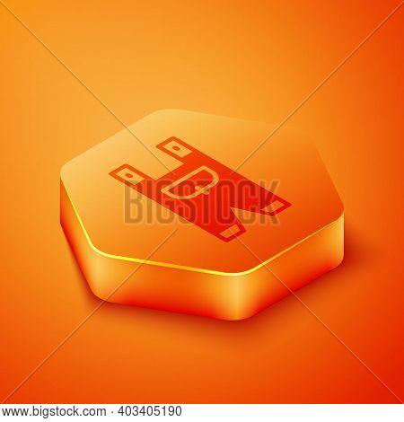 Isometric Garden Worker Clothes Icon Isolated On Orange Background. Orange Hexagon Button. Vector