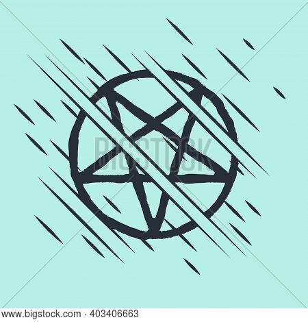Black Pentagram In A Circle Icon Isolated On Green Background. Magic Occult Star Symbol. Glitch Styl