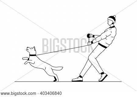 Young Man Walking A Dog. Black And White Outline Vector Illustration Of A Man Holding A Dog On A Lea