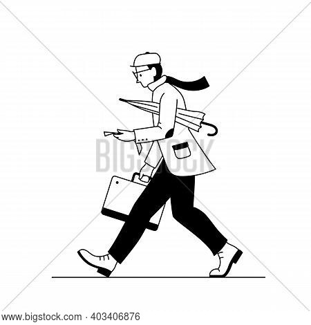 Stylish Man Walking With A Suitcase And Umbrella. Black And White Line Vector Illustration Of A Fash