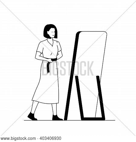 Girl Trying On A Dress In Front Of The Mirror. Outline Vector Illustration Of A Woman In The Store T