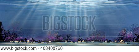 Underwater In Deep Sea Blue On Island,panorama Bottom Of Ocean With Sun Ray Shining On Underwater Cr