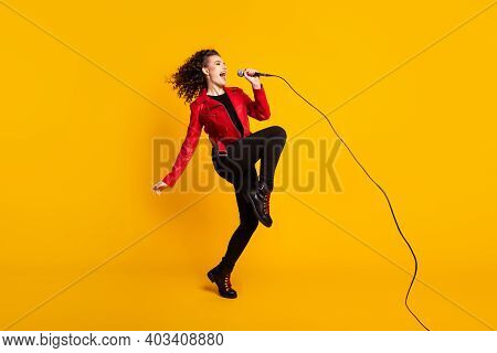 Full Length Body Size View Of Nice Cheerful Wavy-haired Girl Vocalist Jumping Singing Hit Event Isol