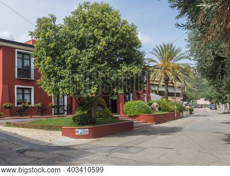 Santa Maria Navarrese, Sardinia, Italy, September 10, 2020: View Of Street At Center Of Village Sant