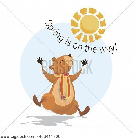 Groundhog Day. Cute Marmot. Groundhog. Spring Is On The Way! Marmot, Sun And Shadow. Vector Illustra