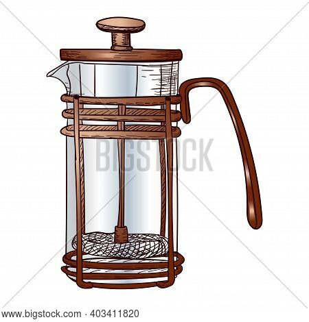 Glass Coffee Maker, Stock Vector Illustration For Decor Design, Sticker, Poster, Sketch, Copper Cook