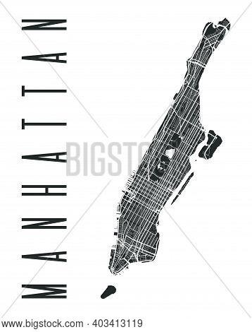 Manhattan Map Poster. New York City Borough Street Map. Cityscape Aria Panorama Silhouette Aerial Vi