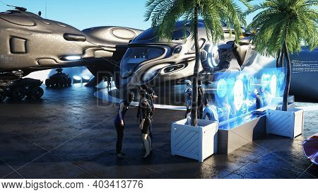 People And Robots. Futuristic City Station On The Clouds. Flying Futuristic Ships. 3d Rendering.