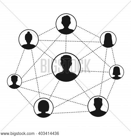 Social Network Scheme Connecting People. Abstract Social Network World Connect People Icons Relation