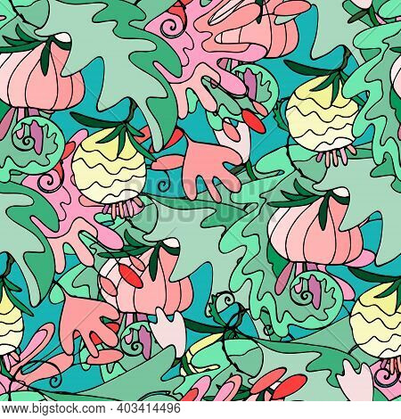 Seamless Pattern With Lush Tropical Vegetation. Repeating Background With Exotic Abstract Flowers, L