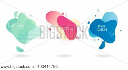 Set Of Abstract Modern Graphic Elements. Dynamic Colored Shapes And Lines.