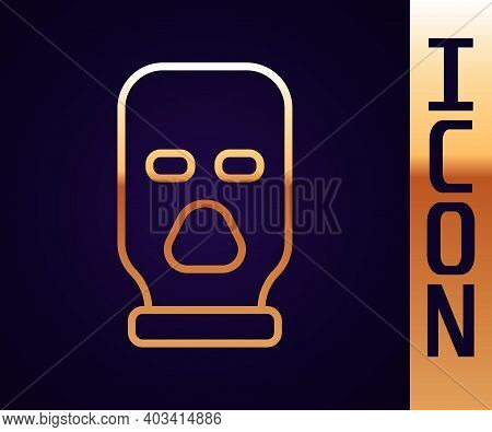 Gold Line Balaclava Icon Isolated On Black Background. A Piece Of Clothing For Winter Sports Or A Ma
